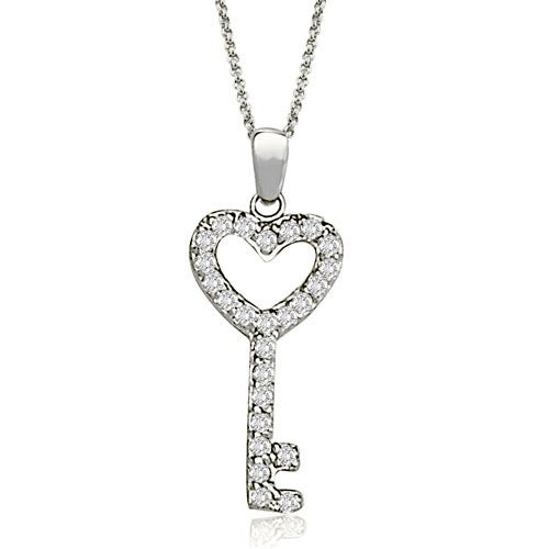 0.25 cttw. 14K White Gold Round Cut Diamond Small Key Pendant