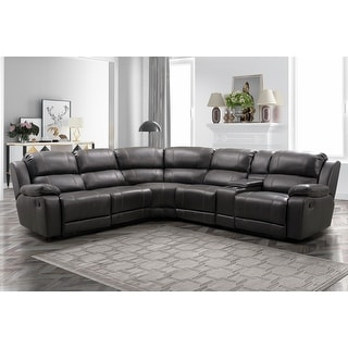 Link to Abbyson Charlestown 6 Piece Dark Brown Reclining Sectional Similar Items in Living Room Furniture