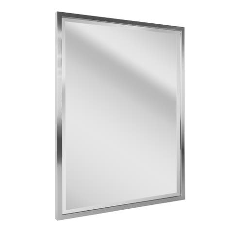 Head West Brushed Nickel Framed Beveled Accent Mirror - 30x40 - 30 x 40