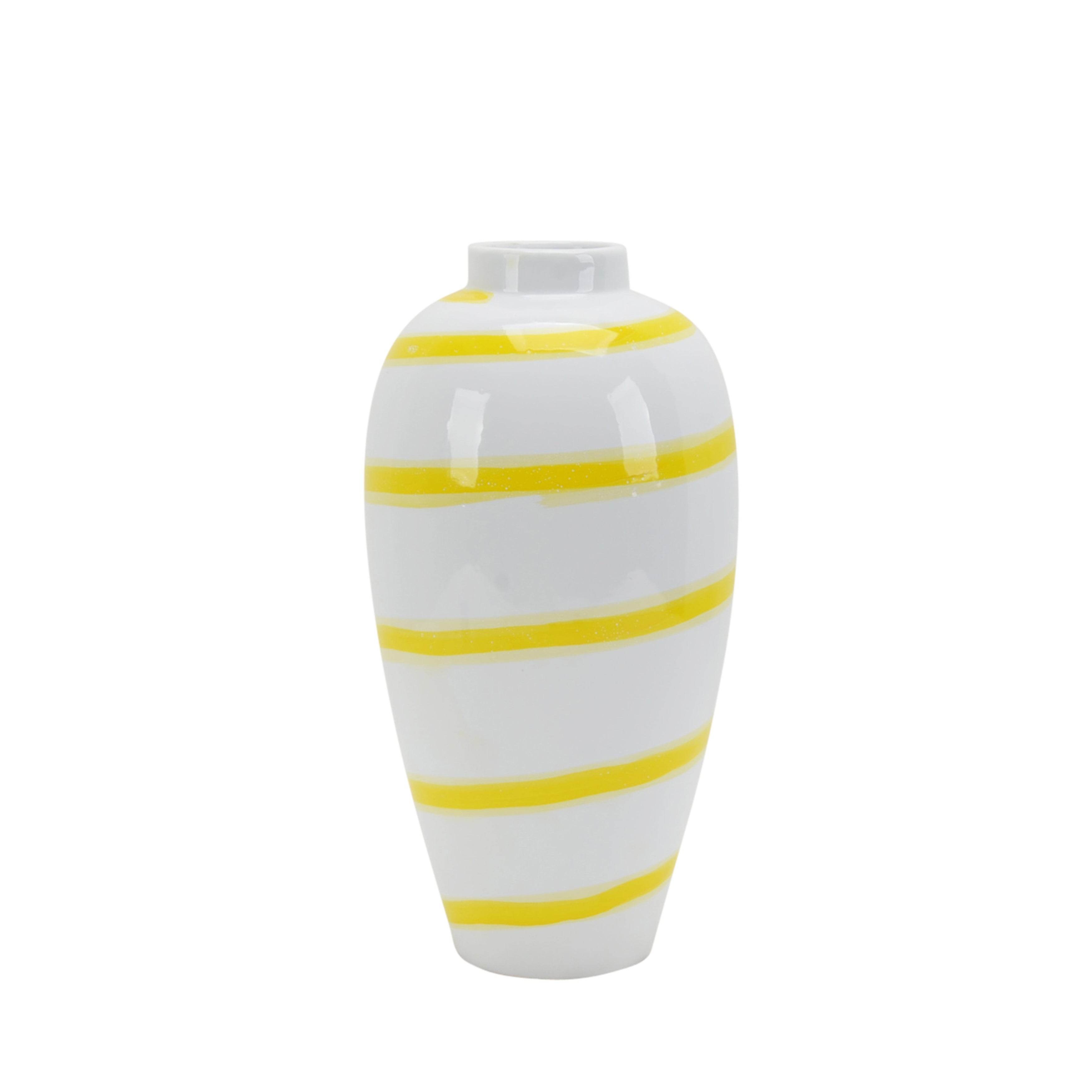 Ceramic Vase in Convex Shape with Striped Pattern, White and Yellow