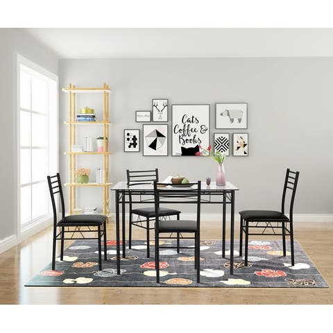 Dining Kitchen Table Set, Glass Table and 4 Chairs Kitchen Table set (Silver&Black)