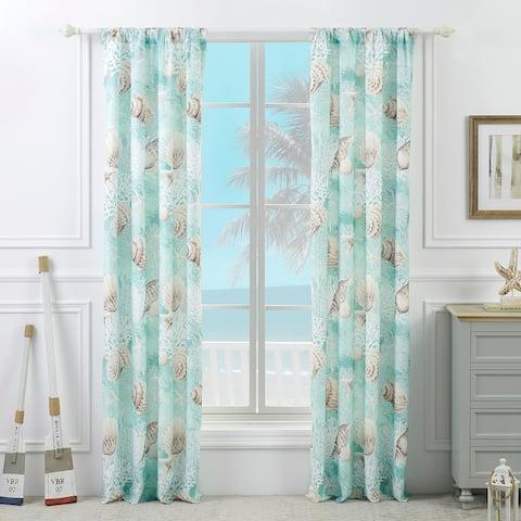 Barefoot Bungalow Ocean Turquoise Curtain Panel Pair (Set of 2)