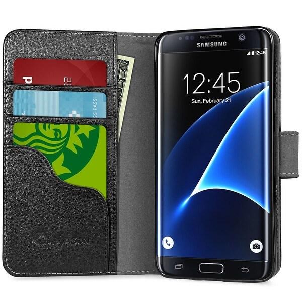 i-Blason Galaxy S7 Edge Synthetic Leather Wallet Case - Black