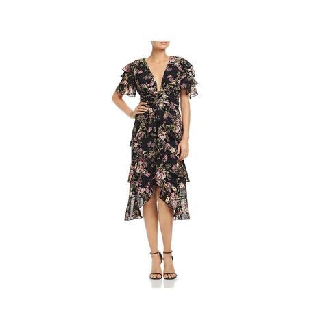 WAYF Womens Miranda Midi Dress Floral Ruffled