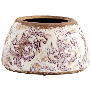 "Cyan Design 09074  English Garden 8"" Diameter Terracotta Planter - White Crackle"