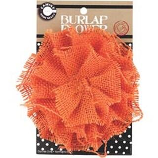 """Orange - Burlap Flower 4.5"""""""