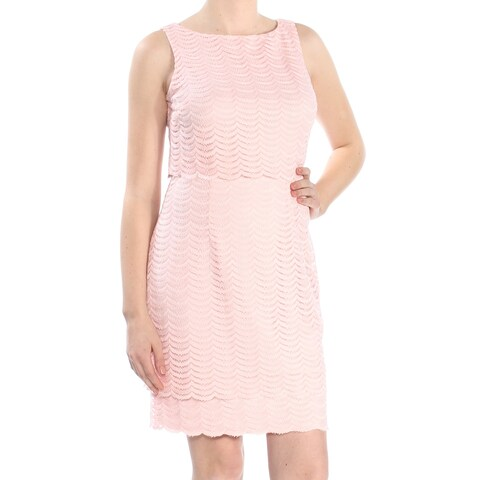AMERICAN LIVING Womens Pink Mesh Popover Sleeveless Jewel Neck Above The Knee Sheath Party Dress Size: 8