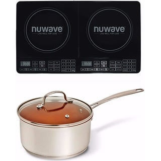 Nuwave Double Precision Induction Cooktop Burner with 3 qt. Ceramic Saucepot