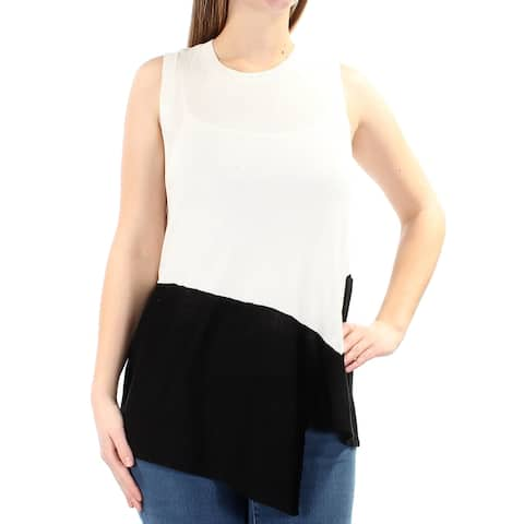 ANNE KLEIN Womens Ivory Asymmetricl Color Block Sleeveless Crew Neck Sweater Size: S
