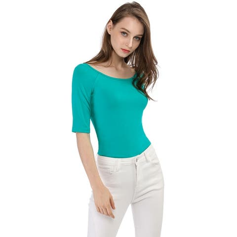 Women Half Sleeves Slim Fit Scoop Neck T-Shirt