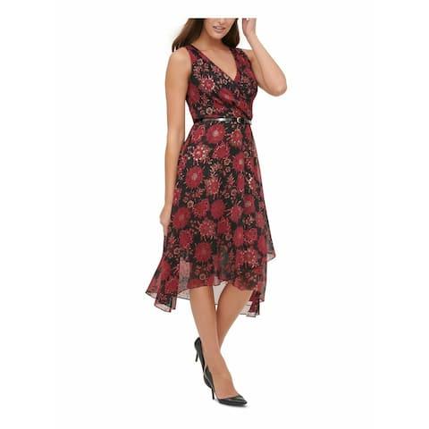 Tommy Hilfiger Womens Shift Dress Red Size 14 Belted Printed Chiffon