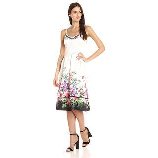 Jessica Simpson Fl Border Fit Flare Tail Dress Print