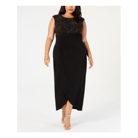 CONNECTED Womens Black Embellished Draped Gown Sleeveless Jewel Neck Maxi Evening Dress Plus Size: 18W