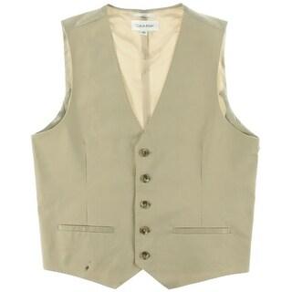 Calvin Klein Mens Suit Vest Slim Fit Panel