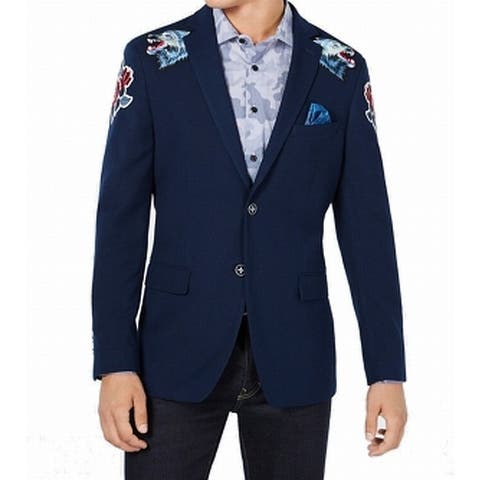 Tallia Mens Jacket Deep Blue Size 38S Short Embroidered Patchwork