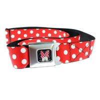 Walt Disney Minnie Mouse Close Up Polka Dot Seatbelt Belt-Holds Pants Up