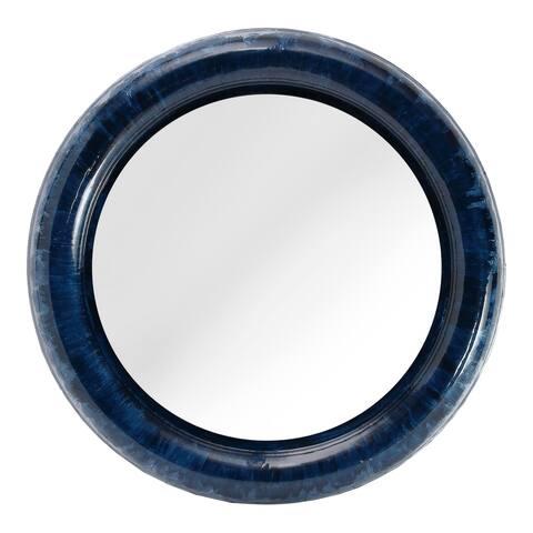 Aurelle Home Modern Round Blue Iron Mirror
