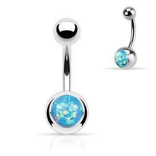 Synthetic Opal Glitter Set 316L Surgical Steel Belly Button Rings (More options available)