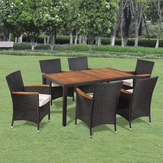 vidaXL Acacia Wood Outdoor Dining Set 5 Pieces Poly Rattan Wicker Table Chair