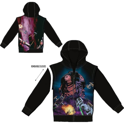 Star Wars Galagas Men's Black Sublimated Hoodie with Removable Sleeves