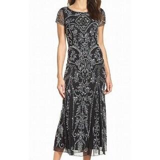 Pisarro Nights NEW Black Women's Size 4 Sequined Mesh Gown Dress