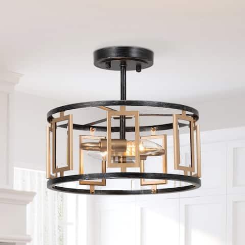 Modern Gold 3-light Drum Semi Flush Mount Glass Geometric Brushed Metal Lighting
