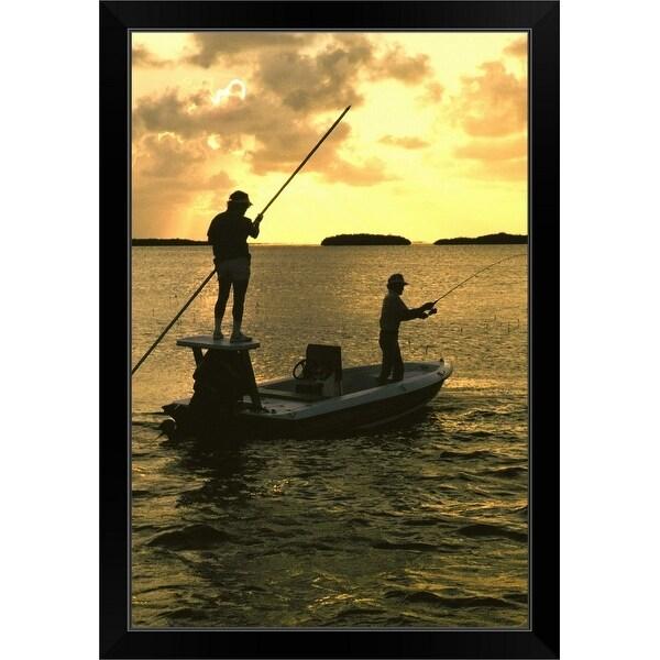 """Bone fisherman off the coast of the Florida Keys near Marathon, Florida"" Black Framed Print"