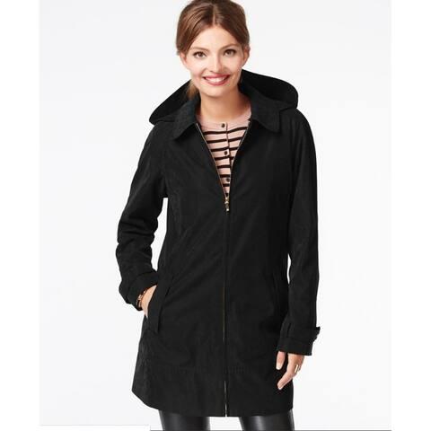 Jones New York Faux-Suede Microfiber Coat Black Size Medium - M