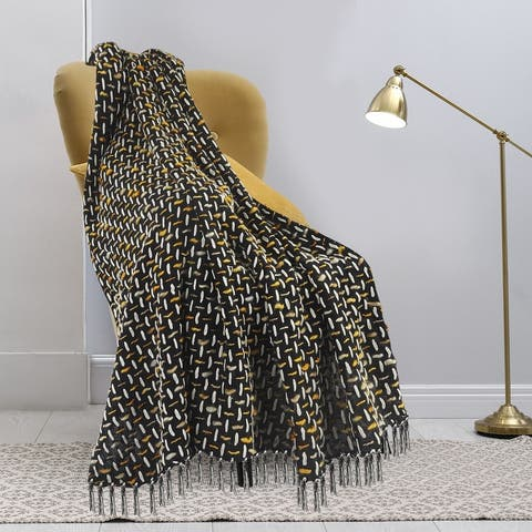 Modern Interwoven Throw Blanket with Fringe