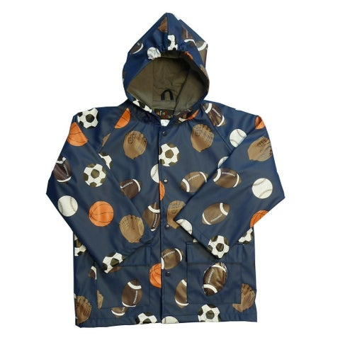 Little Boys Navy Sports Balls Rain Coat 2T-6