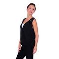 Simply Ravishing Women's Sheer Low V Neck Sleeveless Layered Chiffon Blouse Tank Top - Thumbnail 7