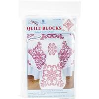 """Stamped White Quilt Blocks 18""""X18"""" 6/Pkg-Interlocking XX Colonial"""
