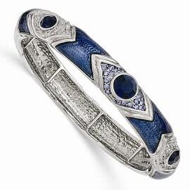 Silvertone Dark & Light Blue Crystal & Glass Enamel Stretch Bracelet - 7in
