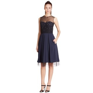 Pamella Pamella Roland Beaded Tulle Detail Pleated Cocktail Evening Dress - 12