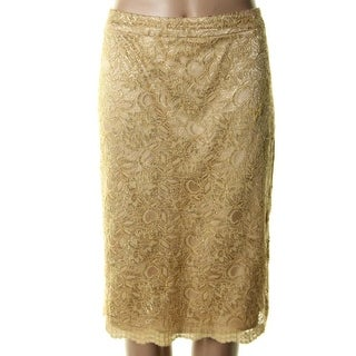 Jones New York Womens Metallic Lace Lined Pencil Skirt - 6
