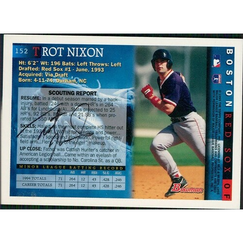 Signed Nixon Trot Boston Red Sox 1995 Topps Baseball Card On The Back Autographed