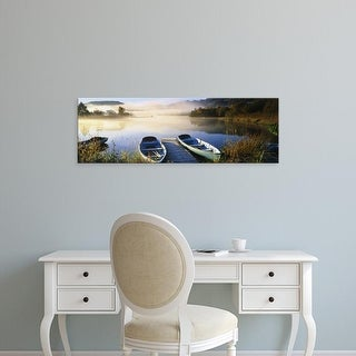 Easy Art Prints Panoramic Images's 'Rowboats at lakeside, English Lake District, Cumbria, England' Premium Canvas Art
