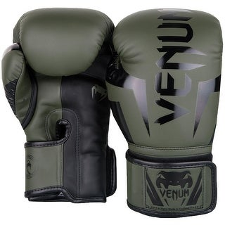 Venum Elite Skintex Leather Hook and Loop Training Boxing Gloves - Khaki/Black