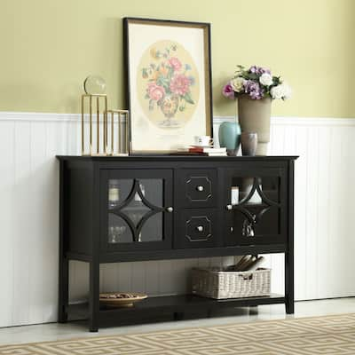 Black 2 Drawers Buffet Console Table