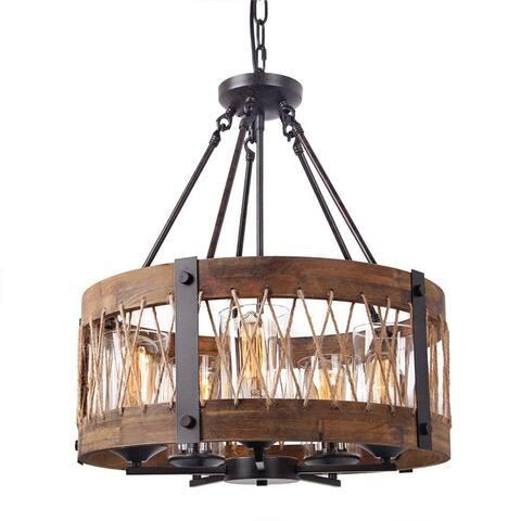 5 light vintage industrial rustic wood chandelier, circular glass pendant lamp light