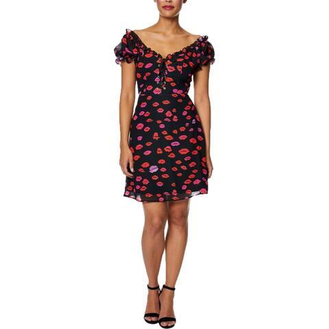 Betsey Johnson Womens Mini Dress Printed Lace-Up