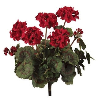 """Pack of 3 Romatic Red & Dark Green Fully Blooming Artificial Geranium Bushes 18"""""""
