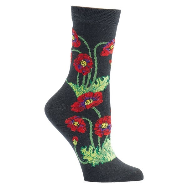 Women's Witches' Garden and Apothecary Floral Socks - Cotton - Poppies - Medium