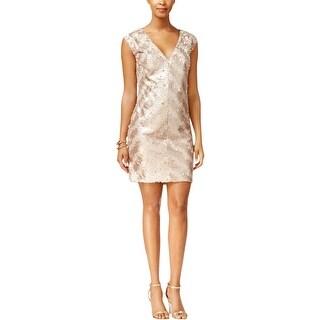 Rachel Roy Womens Cocktail Dress Sequined Stripe