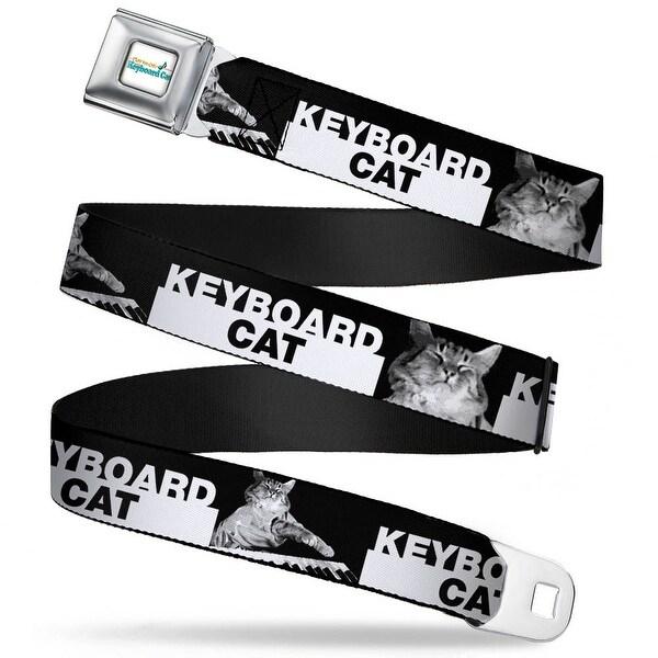 Keyboard Cat Logo White Full Color Keyboard Cat Playing Face Close Up Black Seatbelt Belt