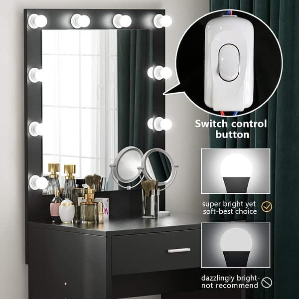 Makeup Vanity With Lighted Mirror Dressing Table