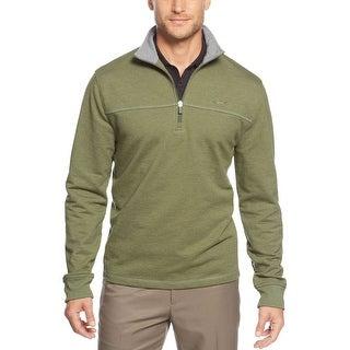 Greg Norman Pieced Quarter Zip Golf Sweatshirt Summer Olive Green Small