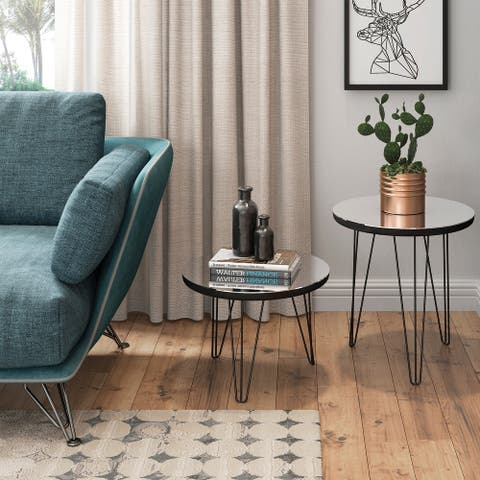 Meera 18-inch Round Mirror Top End Table with Hairpin Iron Legs