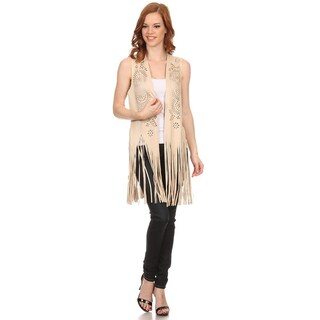 Womens Boho Faux Suede Lightweight Poncho (Option: Pink)