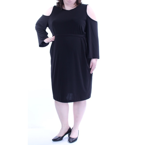 38a47e6e7f7 Shop CALVIN KLEIN Womens Black Cut Out Tie Long Sleeve Jewel Neck Knee  Length Party Dress Plus Size  22W - On Sale - Free Shipping On Orders Over   45 ...
